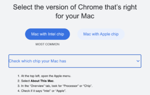 the download screen for Chrome helps you select the right CPU architecture